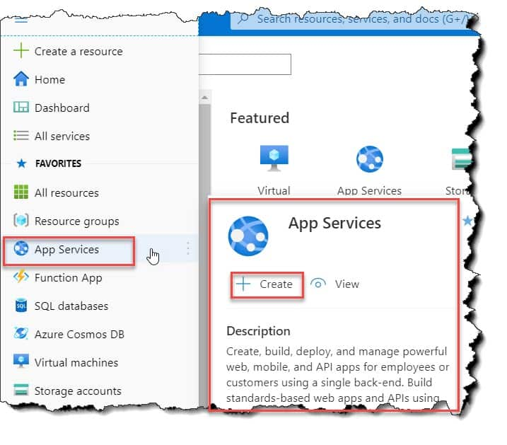 Create App services in Azure portal