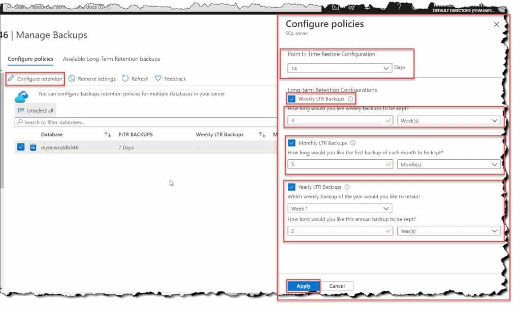 Create backup Azure SQL database