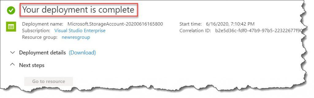 Create storage account in Azure