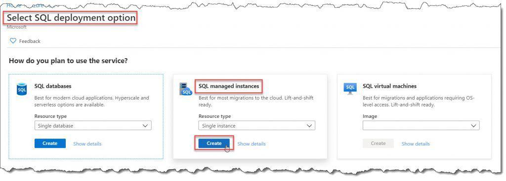 How do I create an Azure SQL managed instance