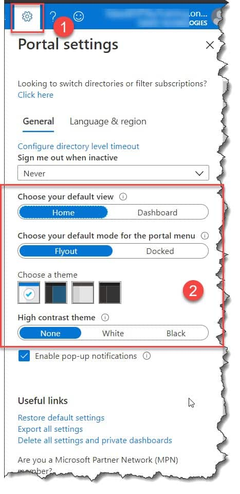 How to change the theme in Azure portal