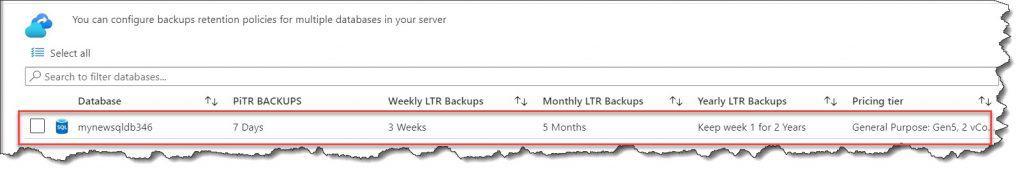 How to Configure backup Azure SQL database