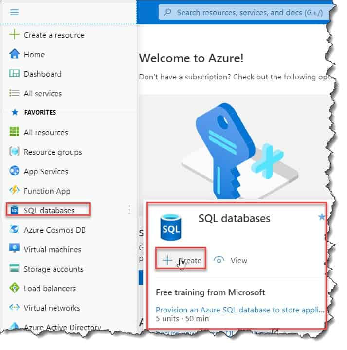How to create Azure Sql database in Azure portal