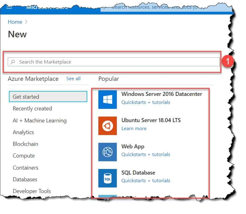 How to create a resource in Azure portal