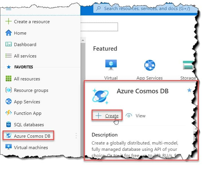 How to create an Azure cosmos DB