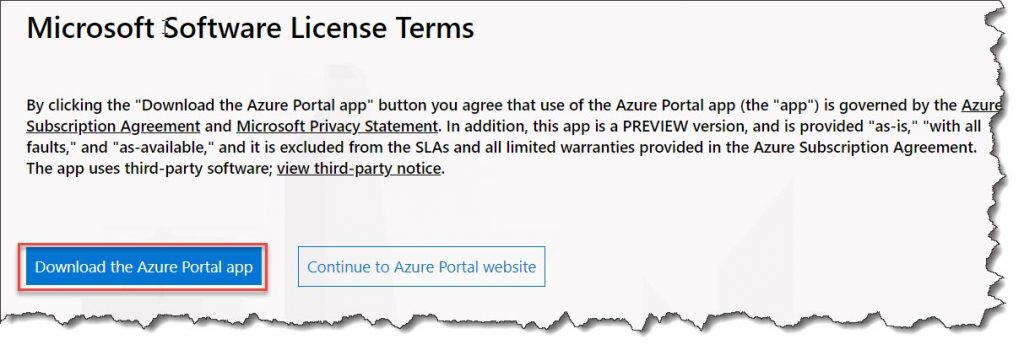 How to install Azure portal app