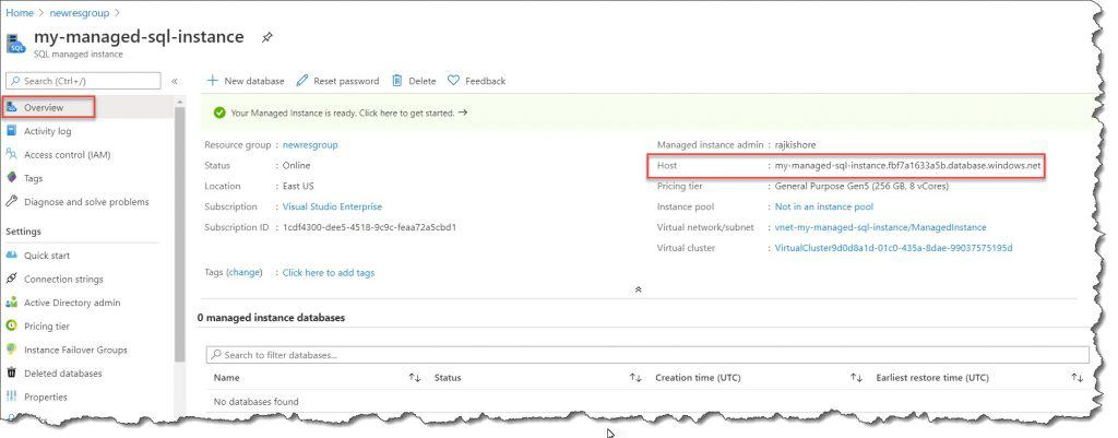 How to retrieve connection details to SQL Managed Instance