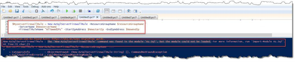 The 'New-AzSqlServerFirewallRule' command was found in the module 'Az.Sql'