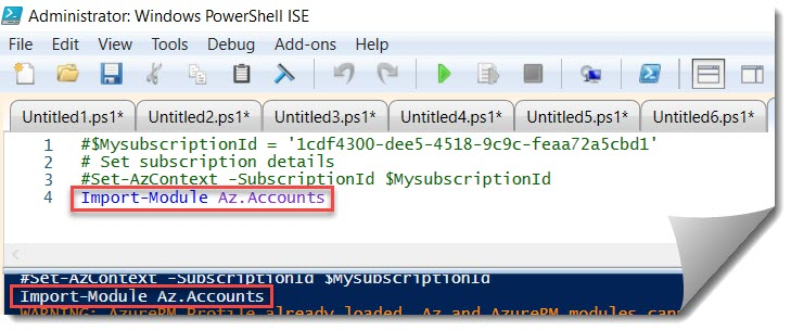 The 'Set-AzContext' command was found in the module 'Az.Accounts'