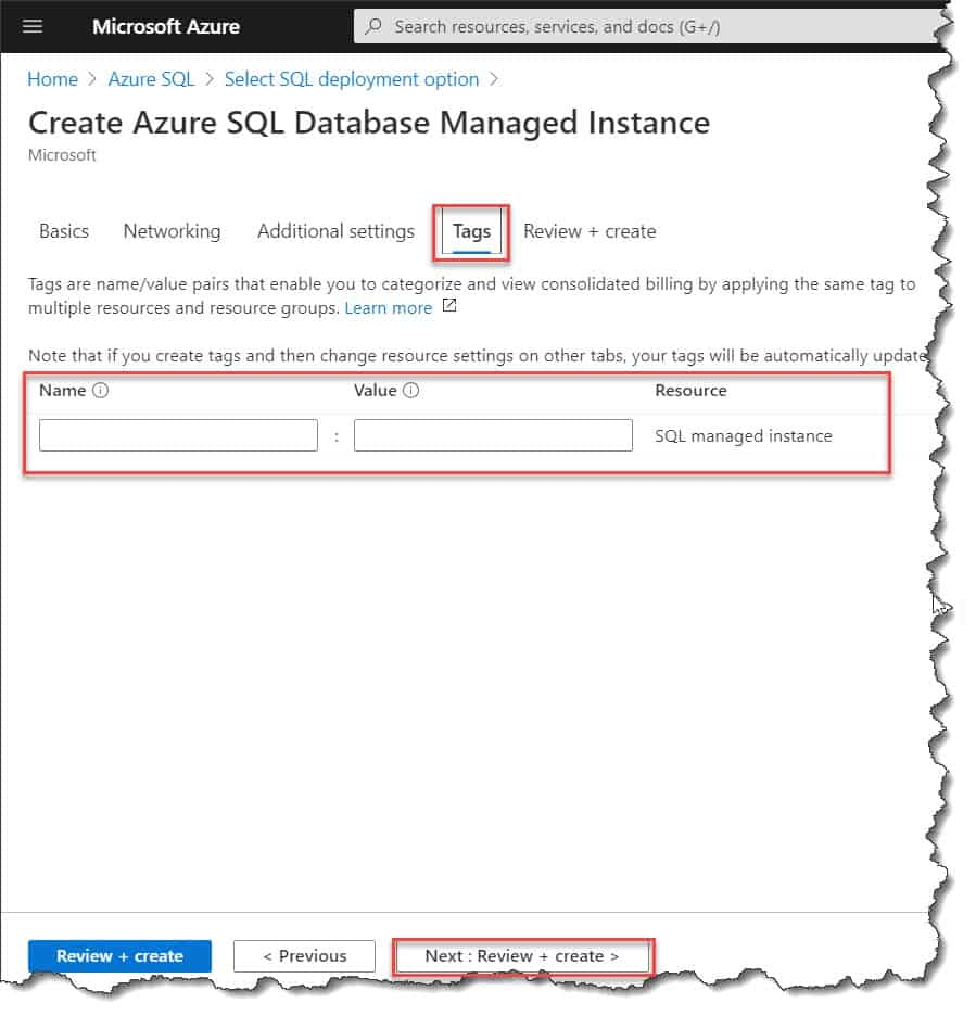 create SQL managed instance in azure portal