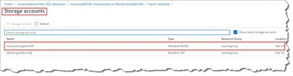 how to cofigure Export Azure SQL Database from Azure portal