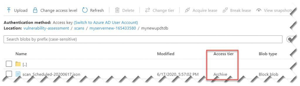 how to switch the tier of a specific blob inside the storage account in Azure