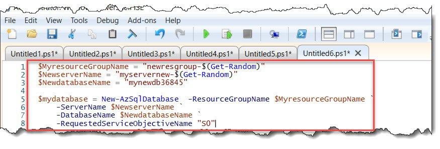 powershell create sql database azure
