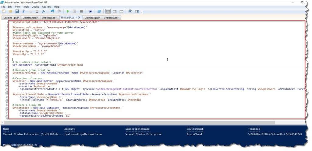 powershell script to create azure sql database