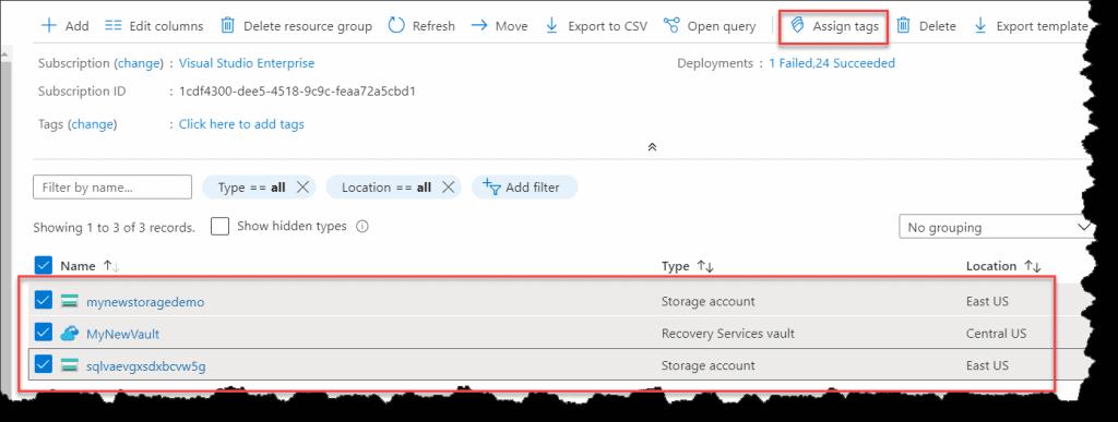 Create Azure Tags Azure Portal