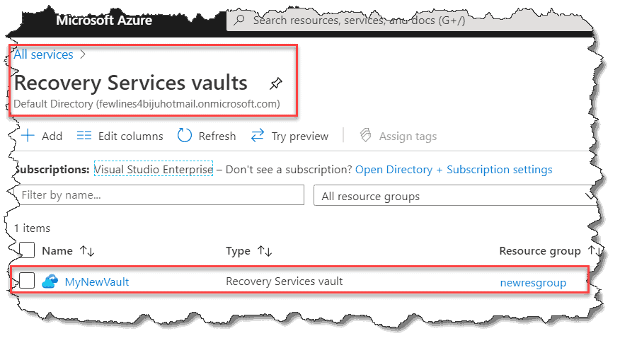 Create a Recovery Services vault in Azure