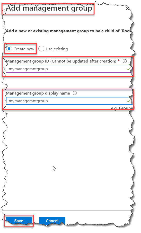 Create a management group using Azure Portal