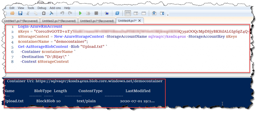 Download file from azure blob storage using PowerShell