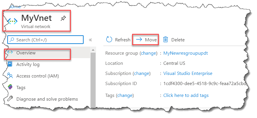 How do I change Azure Resource Group