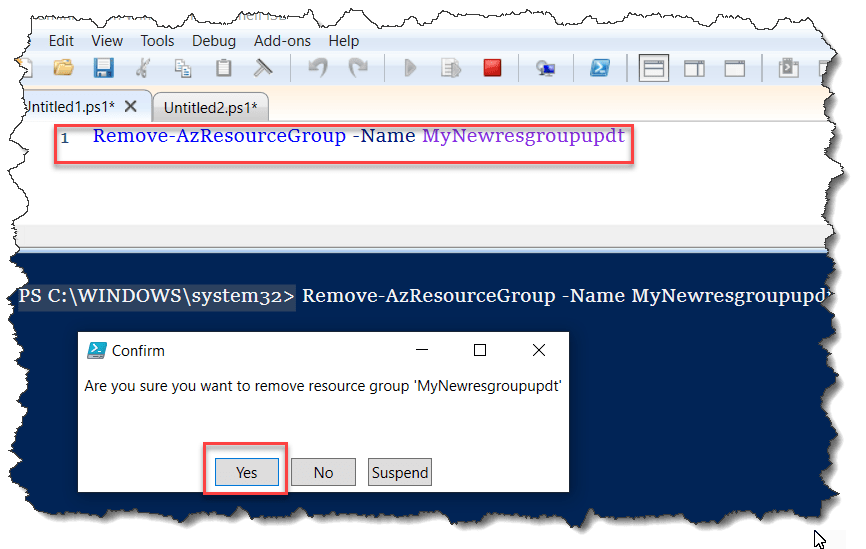 How do I delete a resource group in Azure using PowerShell