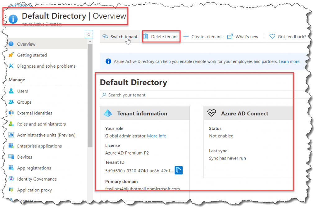 How to Delete a tenant in Azure Active Directory
