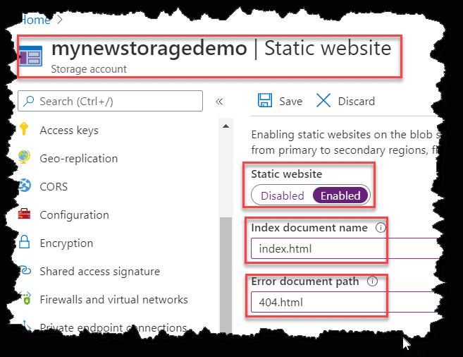 How to configure static website hosting using Azure Portal