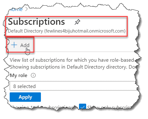 How to create a Subscription in Azure portal