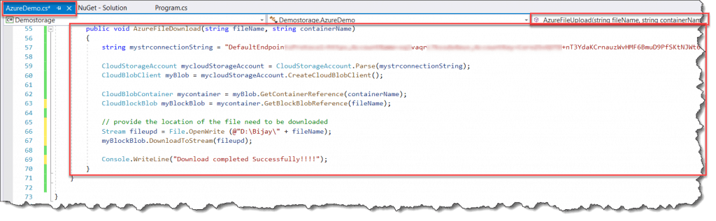 How to download a file from the Azure blob storage using C#