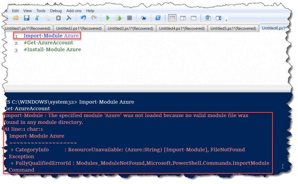 The specified module 'Azure' was not loaded