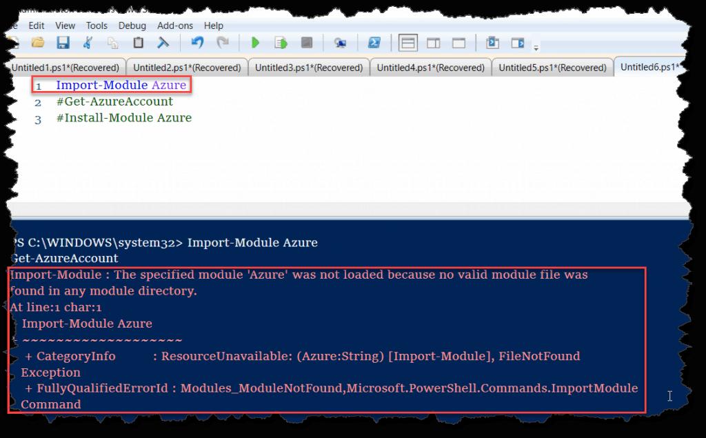 The specified module 'Azure' was not loaded