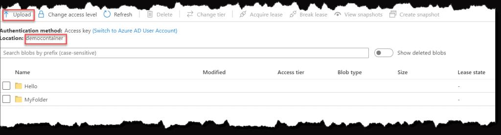 Upload file in azure blob storage (using Azure Portal)
