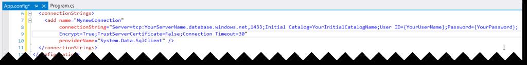 azure sql database connection string c#