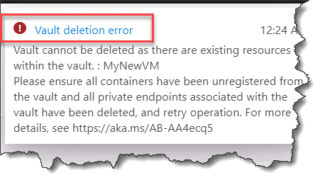 azure vault deletion error