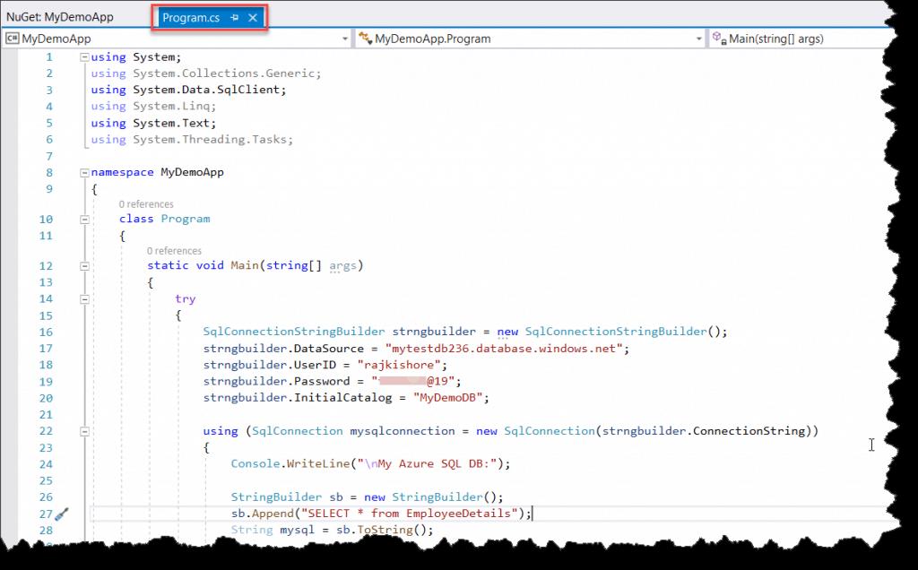connect azure sql database c#