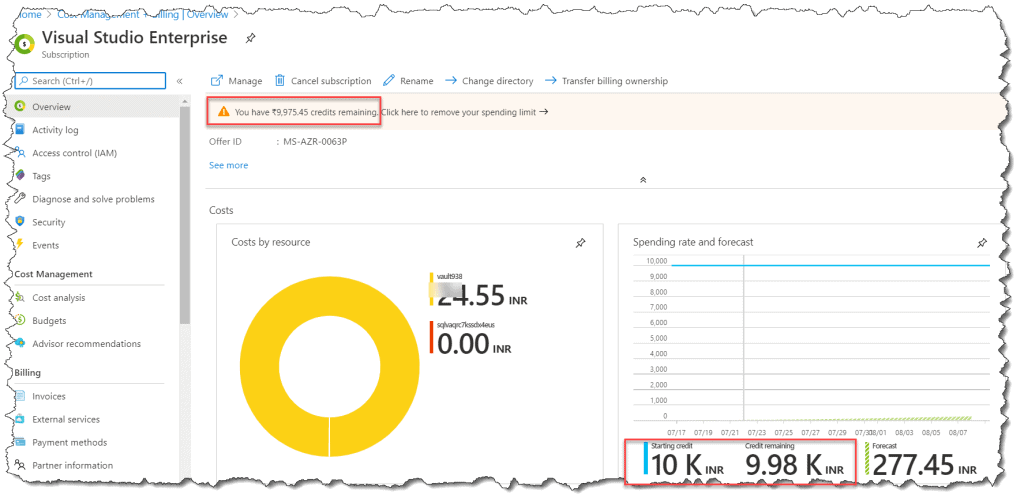 how do i check my credit balance on azure?