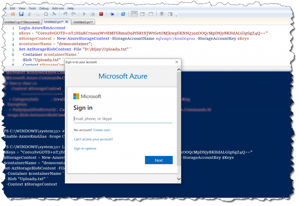 how do you upload a file to azure blob storage using powershell