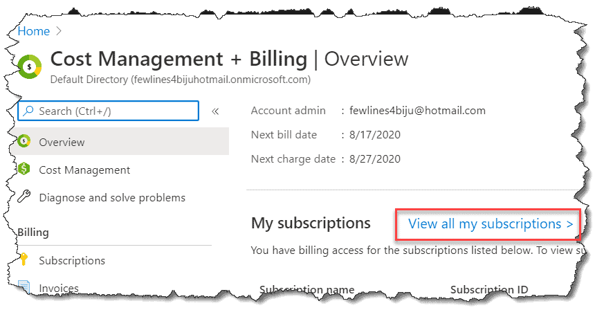 how to check azure credit balance