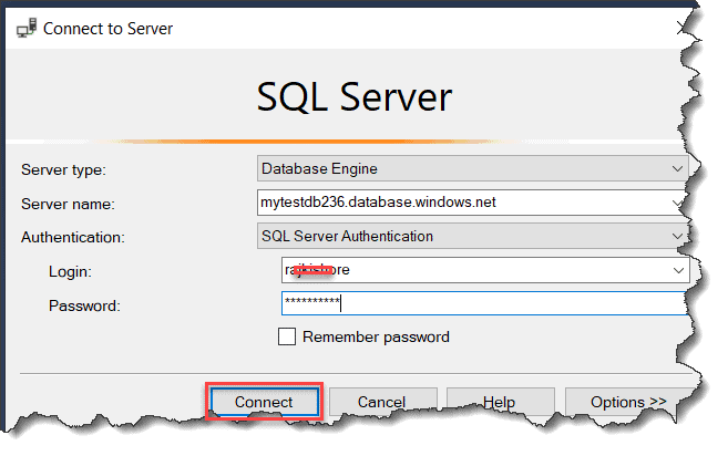 how to connect sql database in azure
