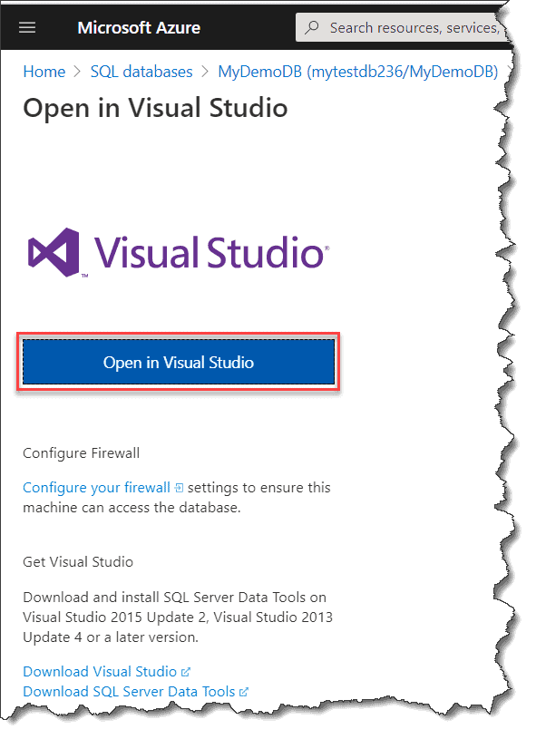 how to connect to azure sql database from visual studio 2015