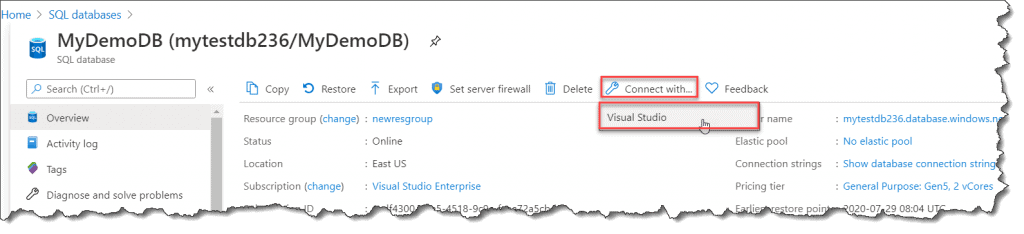 how to connect to azure sql database from visual studio 2019