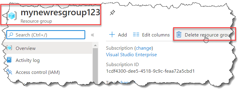 how to delete resource group in azure using Azure Portal