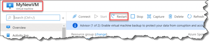 how to restart azure Virtual Machine