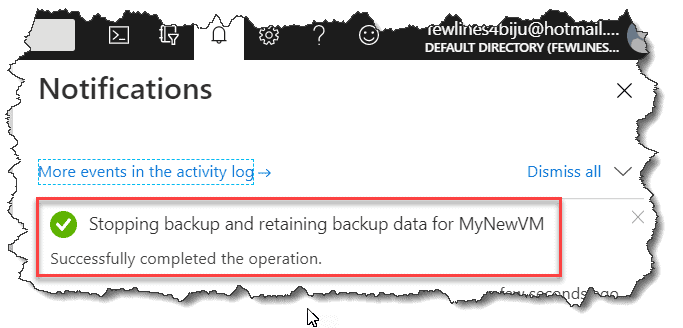 remove vm from backup azure