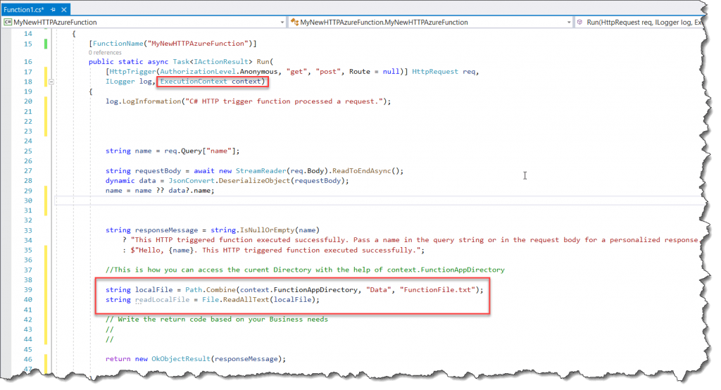 Azure Function Get Current Directory