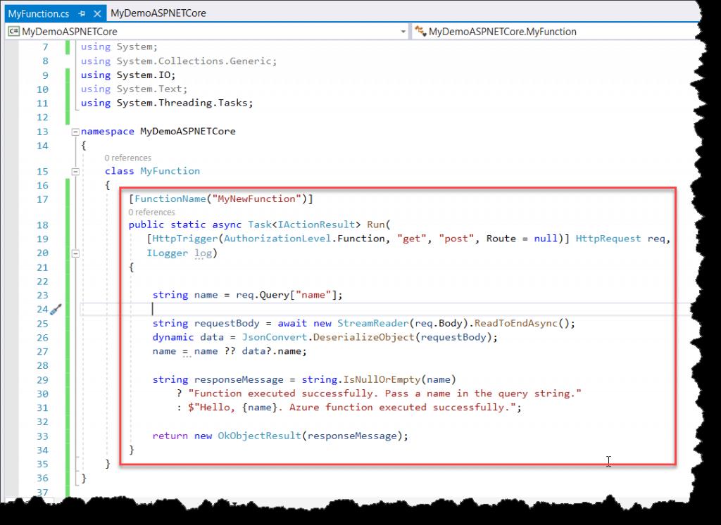 Azure Functions .Net Core Version