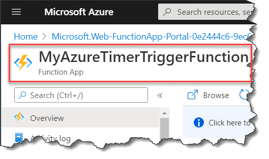 Azure Functions Timer Trigger using PowerShell