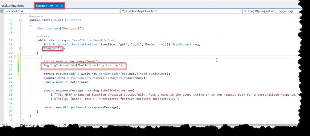 Azure Functions app Logging