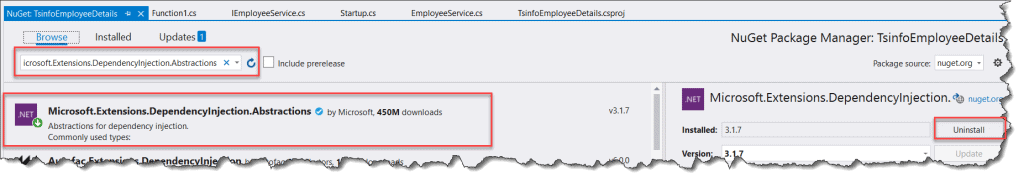 Azure functions dependency injection - error when referencing class library
