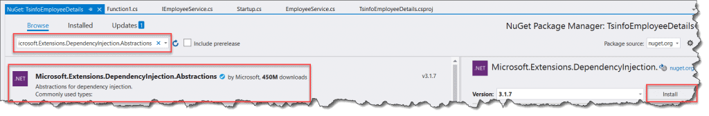 Could not load file or assembly Microsoft.Extensions.DependencyInjection.Abstractions