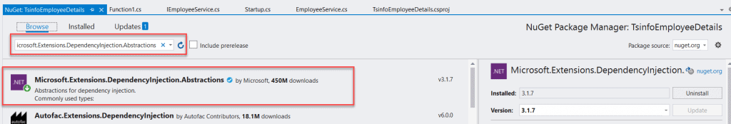 Could not load file or assembly 'Microsoft.Extensions.DependencyInjection.Abstractions, Version=3.1.7.0, Culture=neutral
